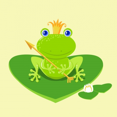 Frog Prince waiting to be kissed, holding arrow. Vector