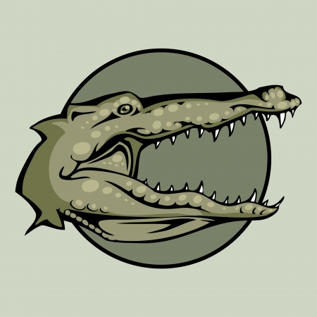 Vector illustration of an Angry crocodile or alligator head snapping set inside circle. Vector