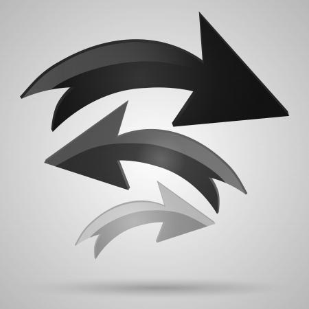 Vector glass arrows. Black glossy arrows icon set. Collection of arrows for design. Stock Vector - 19307936