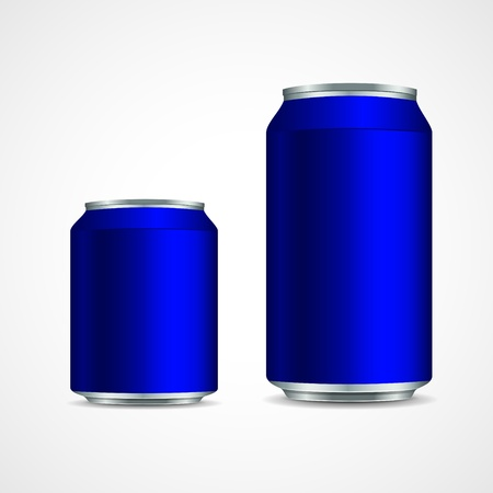 Two blue aluminum cans  Vector