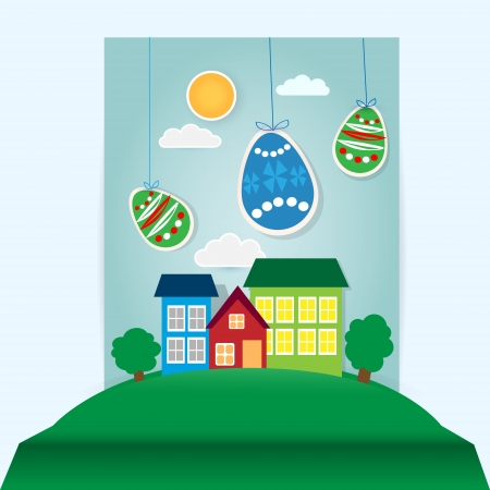 Vector easter scene with paper eggs and house Stock Vector - 19307838