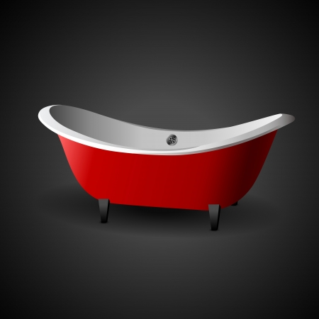 Cartoon Bath. Vector illustration on dark background Vector
