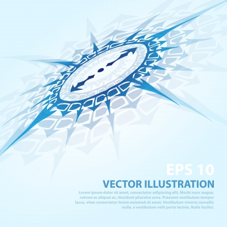 Vector background with blue compass Vector
