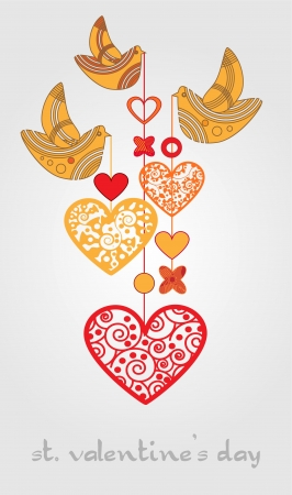 Vector background with birds and hearts Stock Vector - 19308015