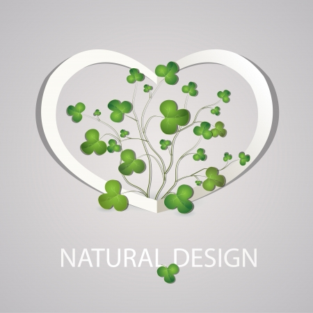 Heart with clover leaves. Vector illustration. Stock Vector - 19308023