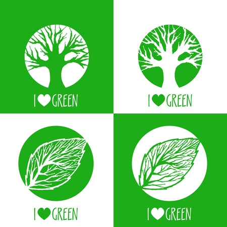 Vector ecology signs. I love green. Vector