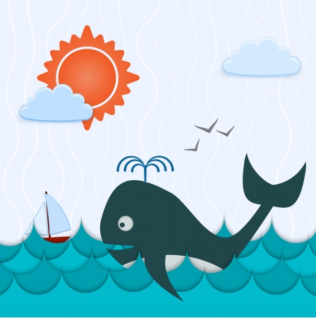 Vector background with whale and boat Vector