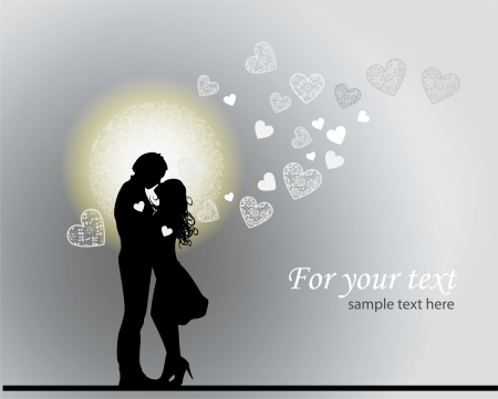Valentines background with couple in love. Vector