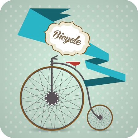 Vector background with old vintage bicycle. Vector