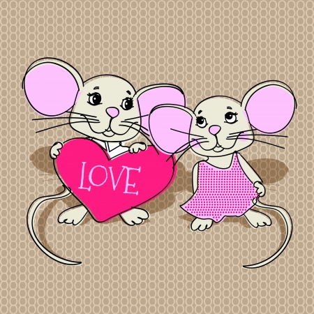 Mouses in love. Vector illustration. Vector