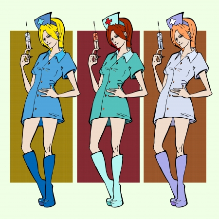 Nurses with syringes. Vector illustration. Vector