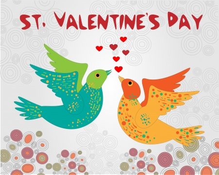 Vector background with birds for Valentine's day. Stock Vector - 19331000