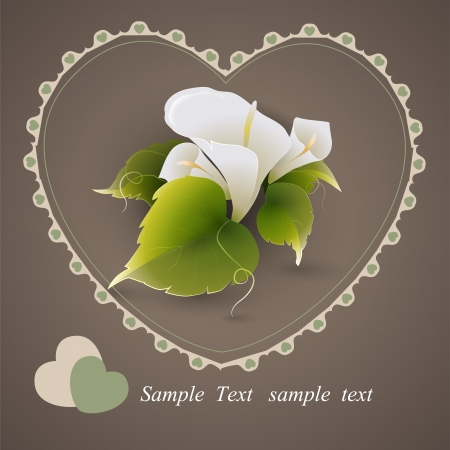 Vector heart with calla lily flowers Vector