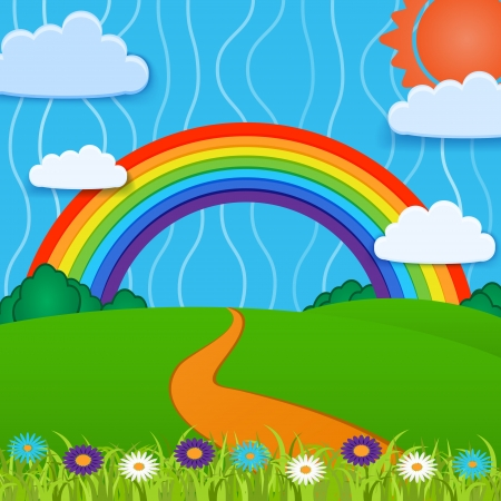 Vector background with rainbow. Stock Vector - 19331001