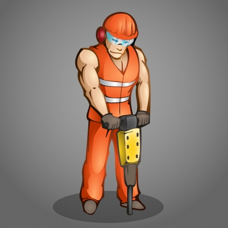 Vector illustration of a cartoon worker. Stock Vector - 19330998