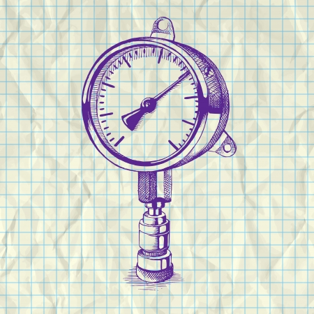 Sketch illustration of a manometer on notebook paper. Vector