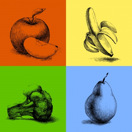 Vector sketch illustrations of fruits and vegetables. Vector