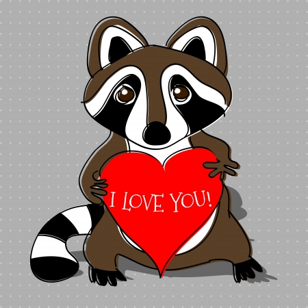 Raccoon in love. Vector illustration. Vector