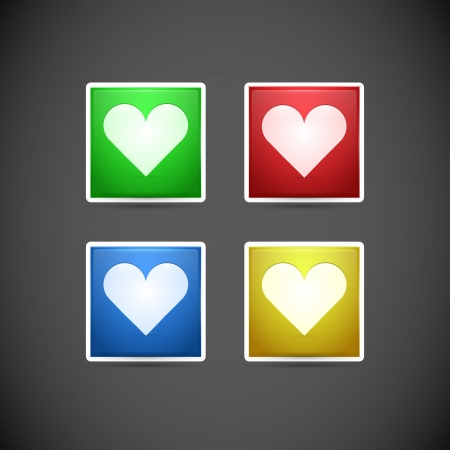 Vector set of buttons with hearts. Stock Vector - 19347104