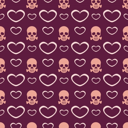 Vector background with hearts and skulls.  Stock Vector - 19347170