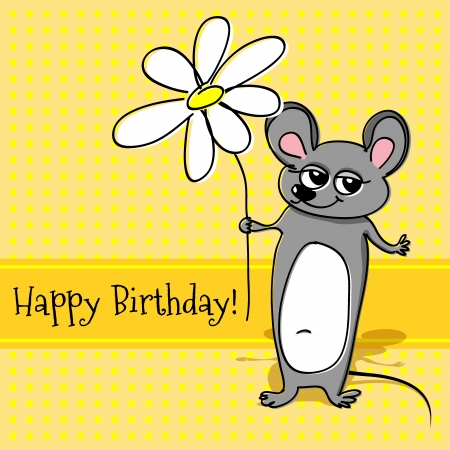Vector greeting card with mouse for birthday. Vector