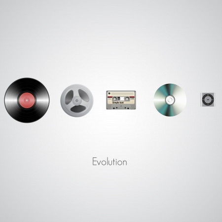 Sound technology evolution. Vector illustration Vector