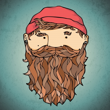 Bearded corsar. Vector Illustration