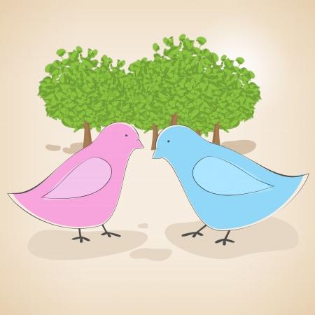 Vector illustration of birds couple in love. Stock Vector - 19437530