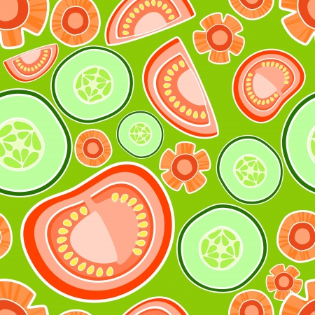 Vector background with tomatoes and cucumbers. Vector