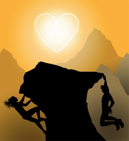 Sunset climbers. Couple climp up to their love Vector