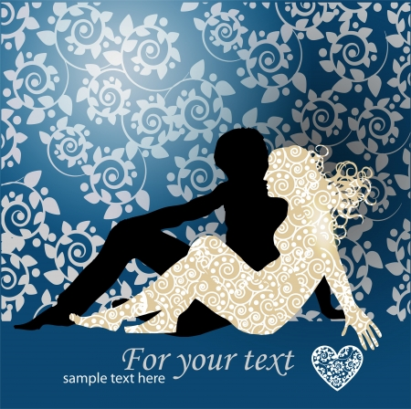 Vector Couple Silhouette Laying On The Ground Stock Vector - 19437772