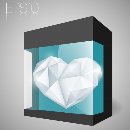 Jewelry heart in glass box. Vector illustration. Vector