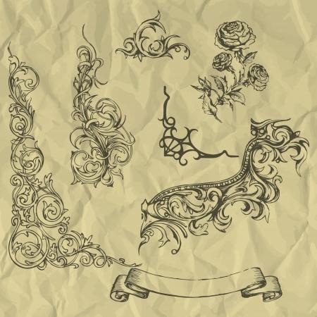 Vector vintage elements on crumpled paper. Illustration