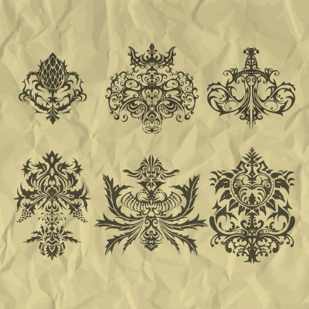 Vector vintage elements on crumpled paper. Vector