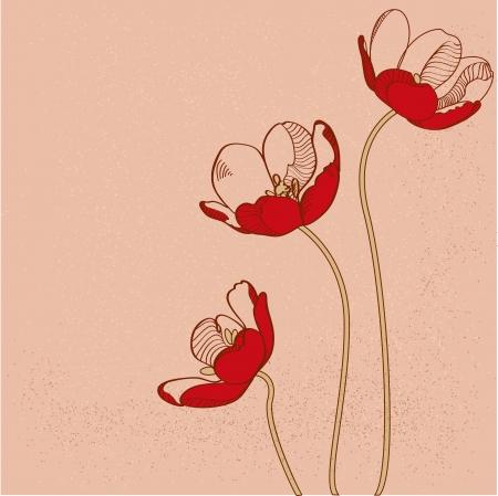 Vector red tulips Vector