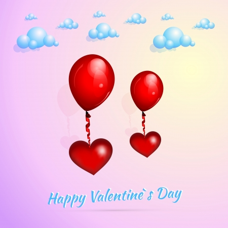 Valentine's background with balloons Stock Vector - 19437771
