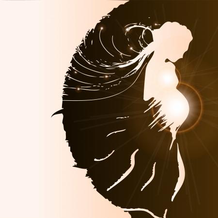 Silhouette of pregnant woman - vector illustration Illustration