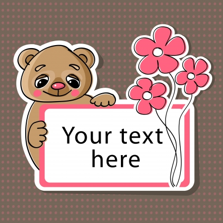 Vector greeting card with bear and flowers Vector