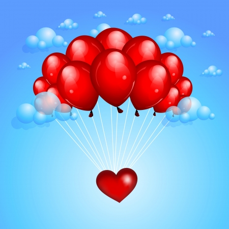 Valentines background with balloons Vector