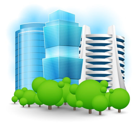Green landscape with skyscraper.  Vector