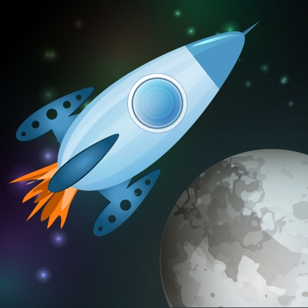 Vector illustration of spaceship flying into galaxy. Vector