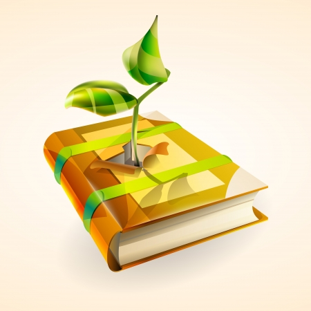 Vector illustration of plant growing in book. Vector
