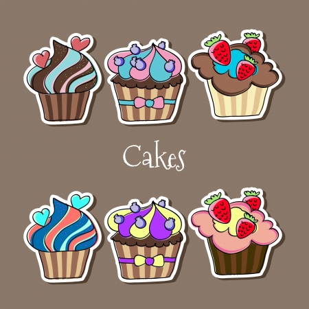 Vector set of delicious cupcakes. Vector