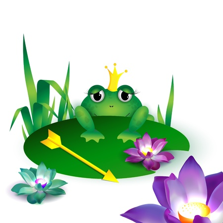Frog princess with an arrow - vector illustration Vector