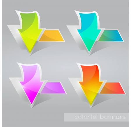 Abstract colored banners with arrows. Vector illustration. Stock Vector - 19463667