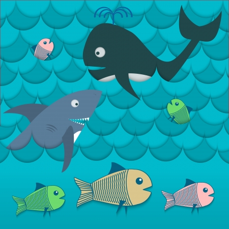 Illustration of different fishes in the sea vector Vector