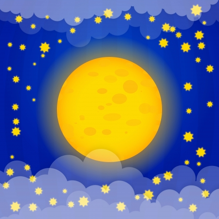 Moon with stars vector illustration