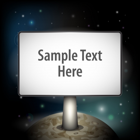 Vector planet with board for your text Vector