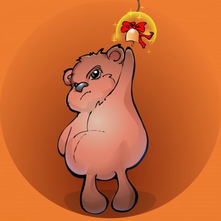 Brown teddy bear with a golden bell - vector illustration Vector