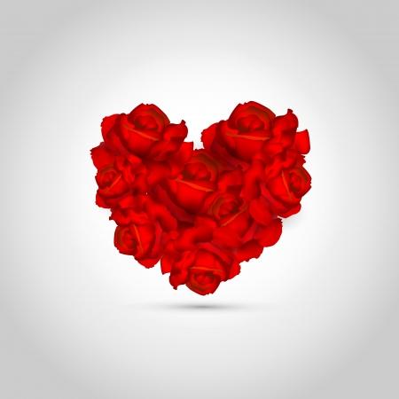 Heart of roses  Vector illustration  Stock Vector - 19466241